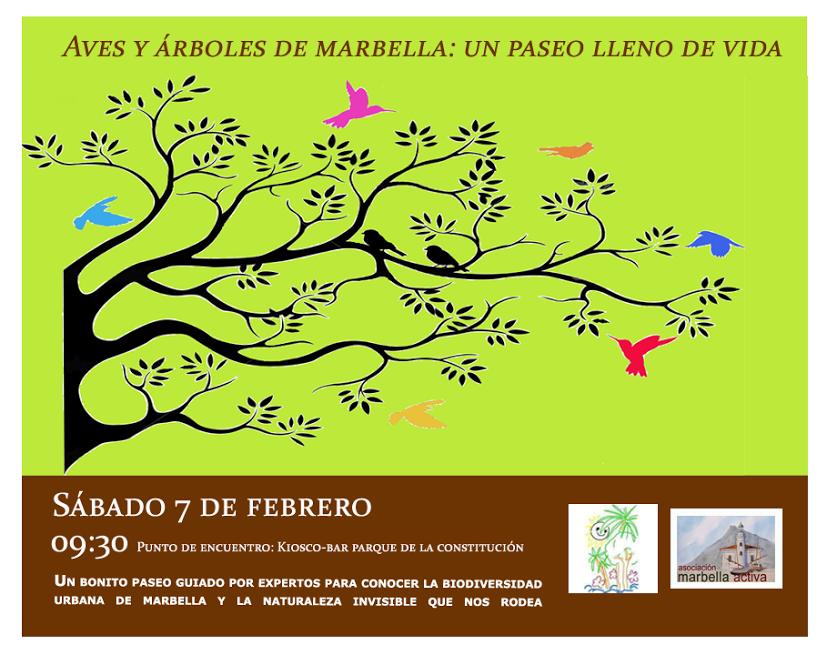 cartel paseo aves+arboles